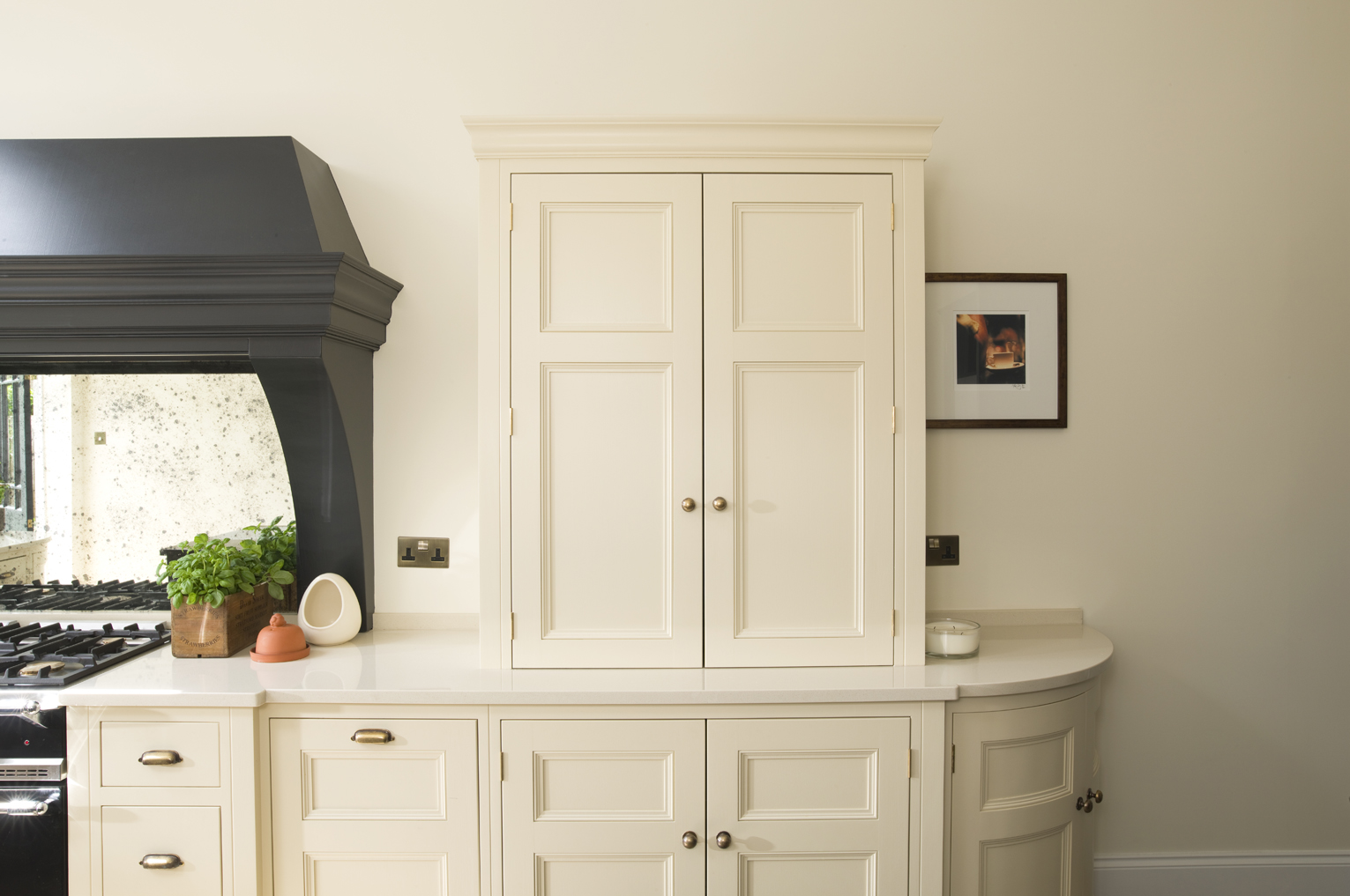 """Contemporary Victorian Kitchen, Kent   Counter cupboard and base cupboards painted in """"Matchstick"""" by Farrow & Ball."""