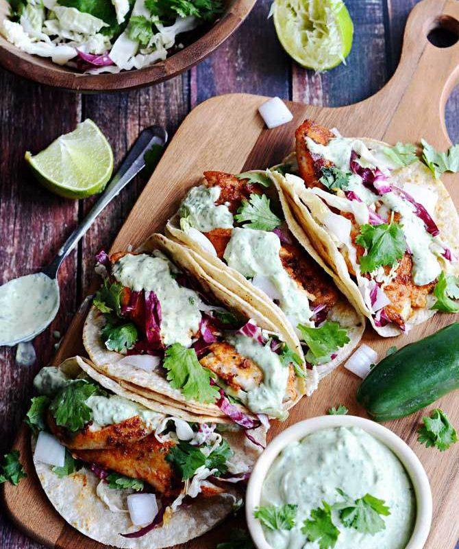 Blackened Fish Tacos with Avocado Cilantro Sauce - Pinterest Recipes To Try - Humphrey Munson Blog