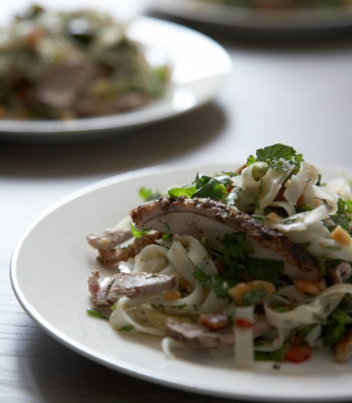 crispy duck with udon noodles braised pea shoots and crispy udon ...